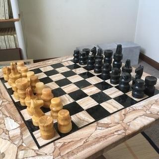 天然石チェス 碁盤駒セット - 仙台市