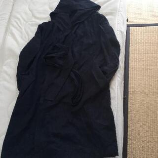 ENNEA 麻レーヨン混 ロングカーディガン フード付