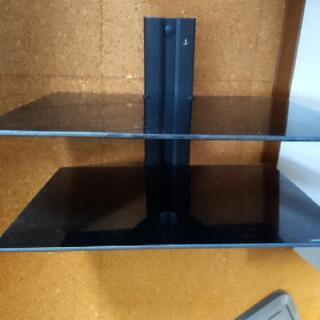 壁掛け テレビボード ガラス製 黒