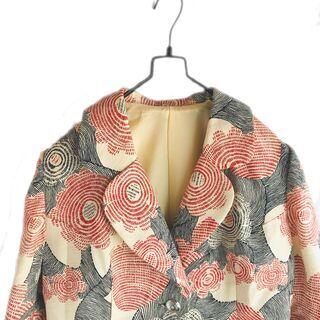 vintage古着 花柄 バニラ赤紺 ハンドメイド ジャケット