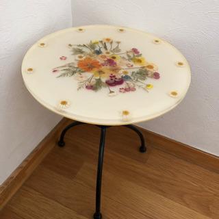 テーブル サイドテーブル ガラス 可愛い 花 押し花