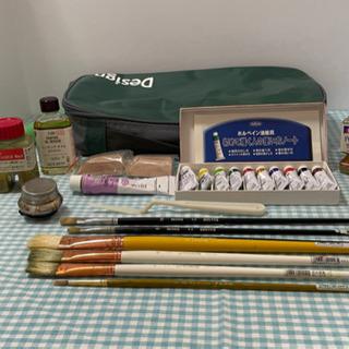 油絵具セット(ホルベイン絵の具、NAMURA、BRUTAS筆)