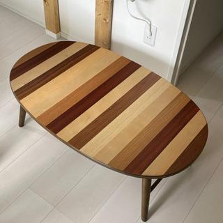 【ネット決済】木目調折り畳みローテーブル
