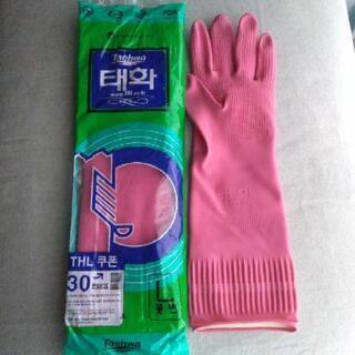 未開封品!韓国のゴム手袋 ロング L