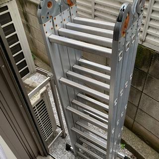 多目的伸縮アルミはしご ハシゴ 6M  作業用天板2枚付き
