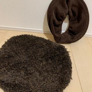 トイレ 蓋カバーと便座カバー ブラウン