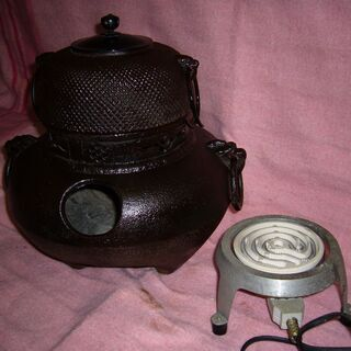 風炉釜鬼面風炉アラレ電熱器付高級品重さ8キロ