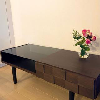 【ネット決済】【値下げしました】収納付★ガラス天板ローテーブル
