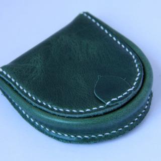 新品馬蹄型メンズ小銭入れ、本革(ダ-クグリ-ン)系財布携帯…