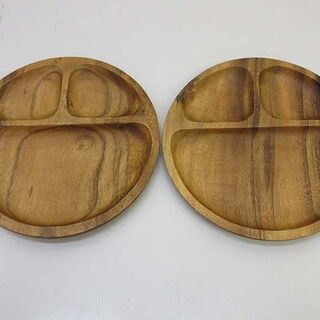 ss2366 未使用品 木製プレート 2個セット 仕切り付…
