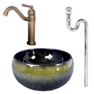 【洗面台を眼立ちに】410×410ドラム型青黒釉絵柄洗面ボウル