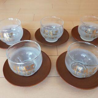美品、冷茶グラス茶托付き、5客
