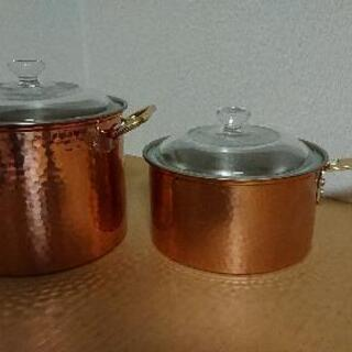 未使用  18㎝ 銅製両手鍋  銅製片手鍋   2個セット…