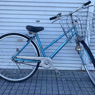 【ネット決済・配送可】【中古自転車】27インチ 変速なし 前カゴ...