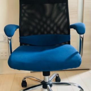 【ネット決済】LOWYA オフィスチェア メッシュ ブルー キャ...