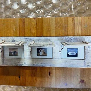 壁掛けウッドフォトフレーム&小物棚