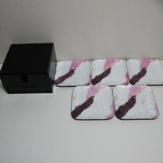 七宝焼 皿5枚 天然木のお菓子入