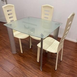 【値下げ】大塚家具ガラスダイニングテーブルセット