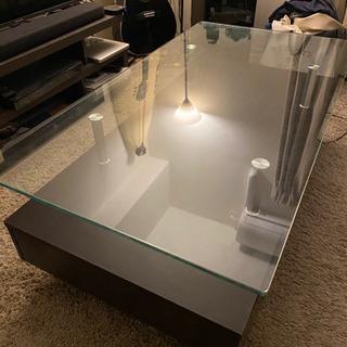 ガラステーブル #2段 #引き出し付き