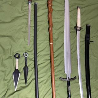 コスプレ、演劇用小道具。剣、ソード、クナイ、蛇飾り木杖、仕…