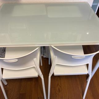 ガラス板ダイニングテーブル 椅子4脚