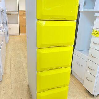 5段 プラチェスト 白/黄色 収納 衣類収納 小物入れ 子ども用...