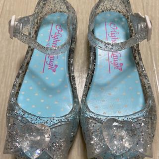 子ども 女の子 靴 キラキラサンダル 16cm プリンセス リボ...
