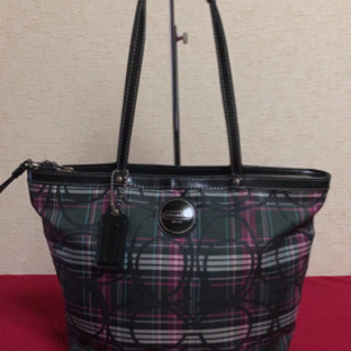 5MKO314  COACH トートバッグ 黒ピンク 大きめ