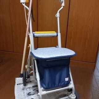 【座り休憩可能】介護キャリー & 杖