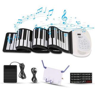 【新品】ロールピアノ 88鍵盤 電子ピアノ 移調機能搭載 ペダル...