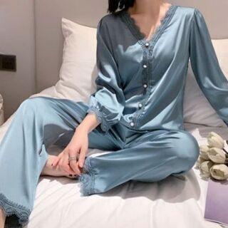 新品 女性長袖パジャマ パジャマ上下セット 寝巻き部 屋着…