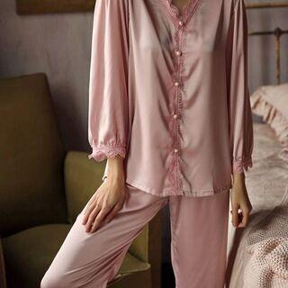 新品 パジャマ上下セット 寝巻き 部屋着 女性長袖パジャマ…