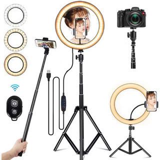 LEDリングライト カメラ 卓上ライト 自撮り/撮影/照明…