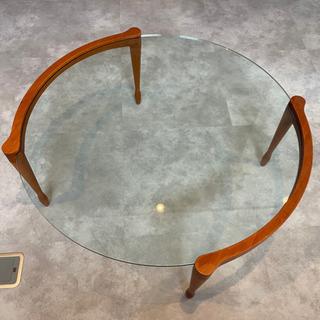 テーブル ガラステーブル ローテーブル チェリーウッド