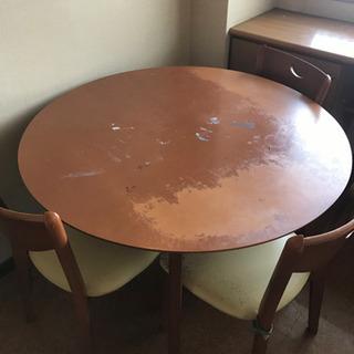 【状態悪いです】丸テーブル 椅子 ダイニングセット