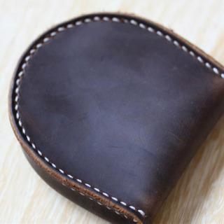 新品馬蹄型メンズ小銭入れ、本革( ビンテージ)財布携帯便利