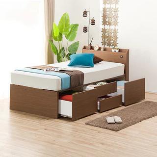 ニトリ シングルベッドフレーム マットレス付き 収納ベッド 組み...