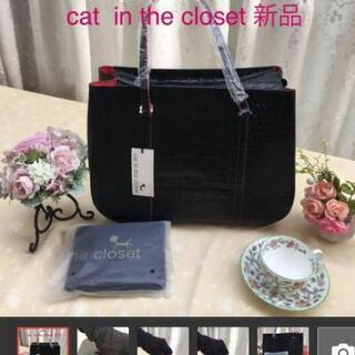 cat in theclosed 黒 大 本革 新品 軽量 ハン...