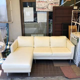 ホワイトソファー・L型ソファー・大型ソファー・ファミリー向…