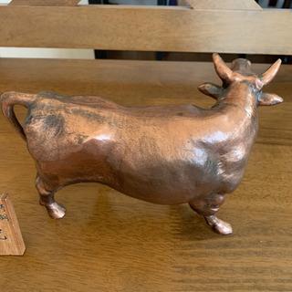 牛の置物 骨董品 鋳鋼 アンティーク - 家具