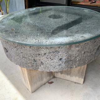 石臼テーブル大 (ガラス天板付)
