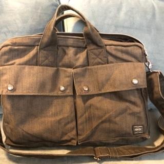 PORTERの布製ビジネスバッグ 中古、濃グレー