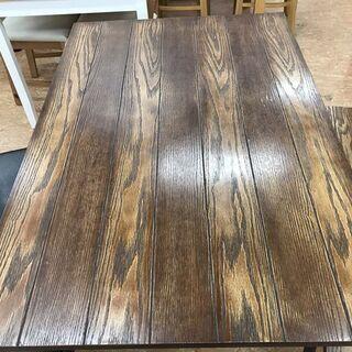 【引取限定】4人掛け ダイニングテーブルセット 木目調×ブラック...