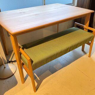 ダイニングテーブルセット 2点セット ナチュラル×グリーン…