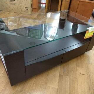 J076  ガラストップリビングテーブル(モーブル製)  幅10...