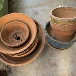 写真の植木鉢 素焼きの9個 無料で