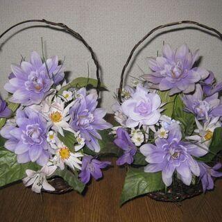 フェイクフラワー&カゴバッグ 2個セット パープル系 造花…