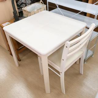 テーブル・イスセット☆木製☆正方形テーブル☆ホワイト☆幅76×奥...