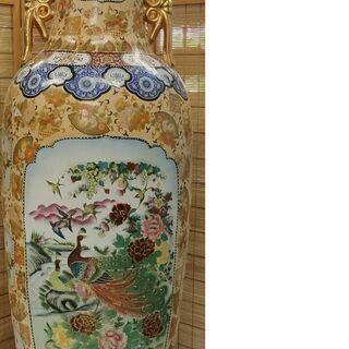 大型 乾隆南造 飾り壷 約180cm 陶器 置物 花鳥図 骨董品...