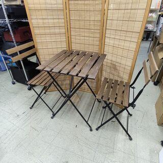 カントリー調 折りたたみ式 テーブル&チェア2脚 屋外用